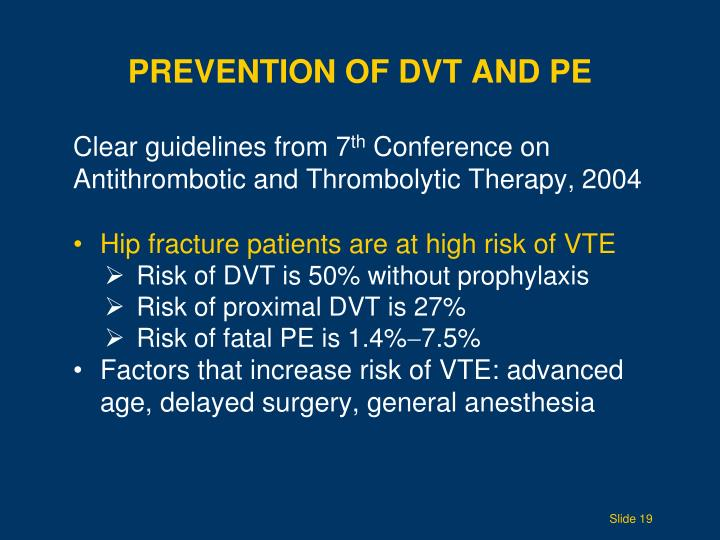 Prevention of DVT and
