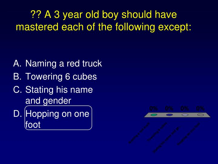 ?? A 3 year old boy should have mastered each of the following except:
