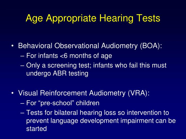 Age Appropriate Hearing Tests
