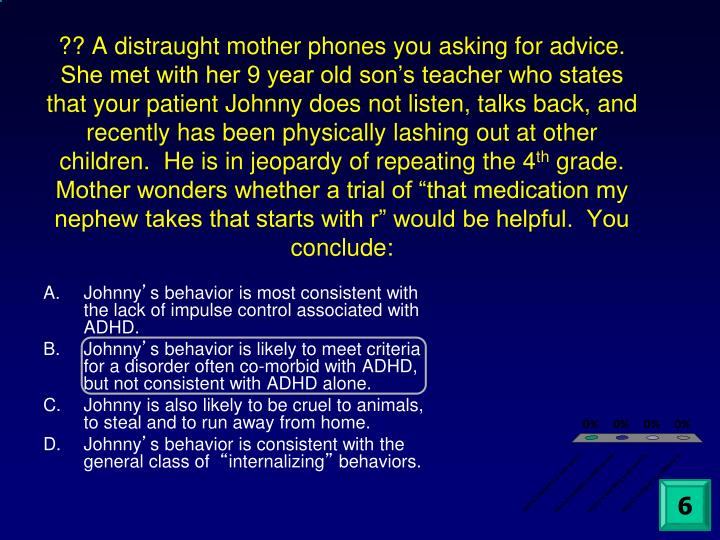 ?? A distraught mother phones you asking for advice.  She met with her 9 year old son's teacher who states that your patient Johnny does not listen, talks back, and recently has been physically lashing out at other children.  He is in jeopardy of repeating the 4