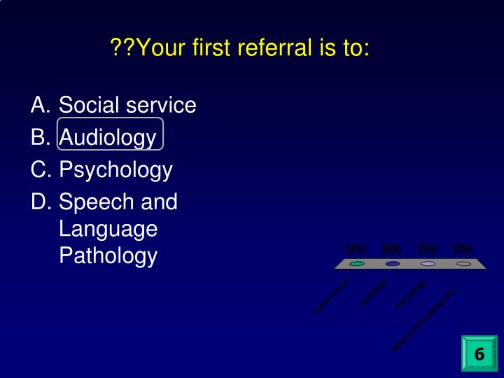 ??Your first referral is to: