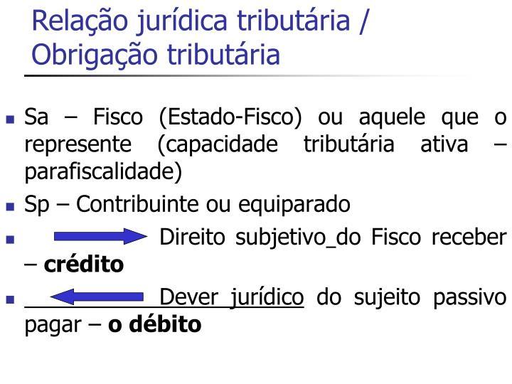 Relação jurídica tributária / Obrigação tributária