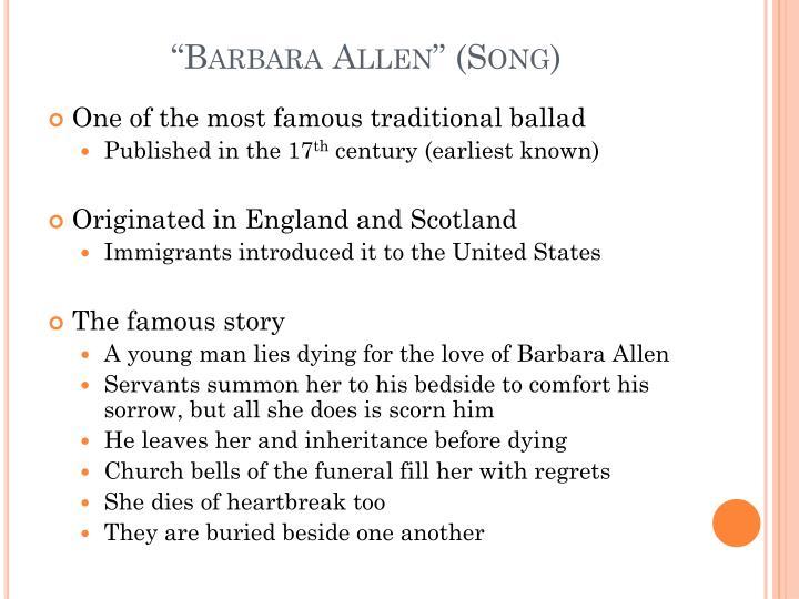 """""""Barbara Allen"""" (Song)"""