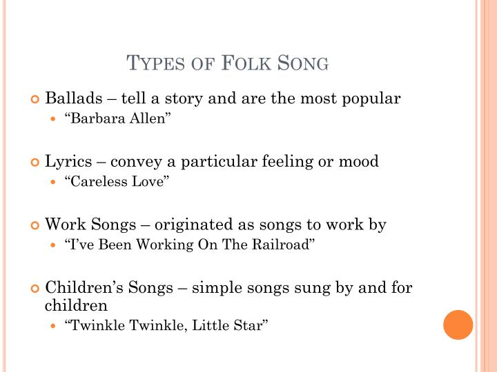 Types of Folk Song