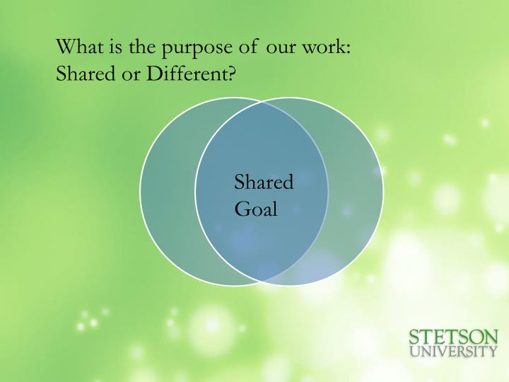 What is the purpose of our work: