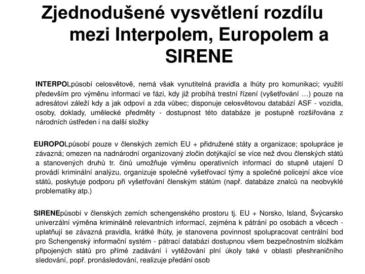 Zjednodušené vysvětlení rozdílu mezi Interpolem, Europolem a SIRENE