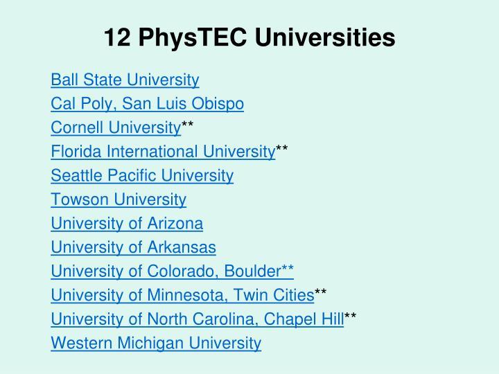 12 PhysTEC Universities