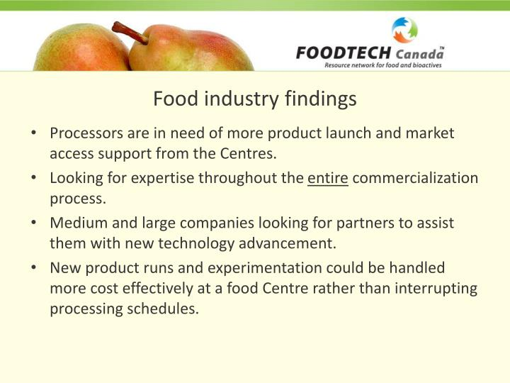 Food industry findings