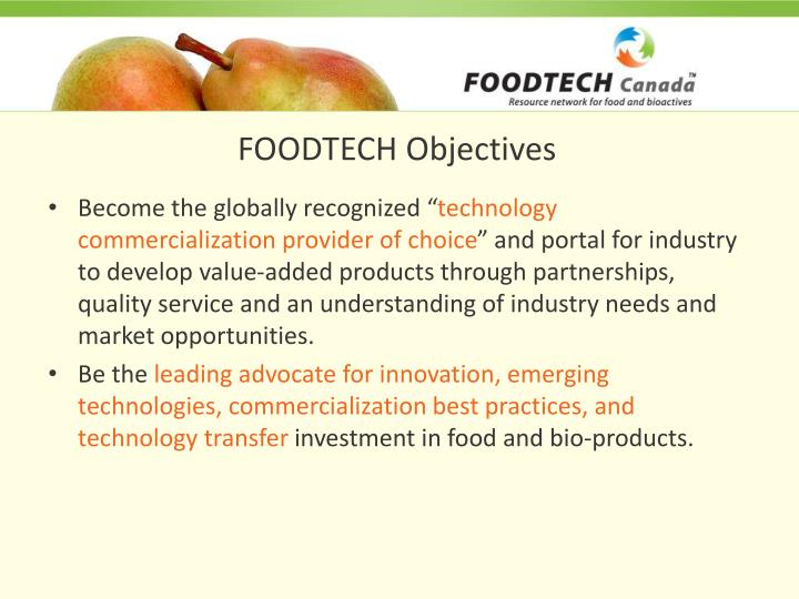 FOODTECH Objectives