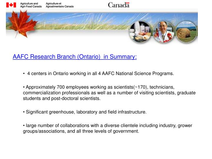 AAFC Research Branch (Ontario)  in Summary: