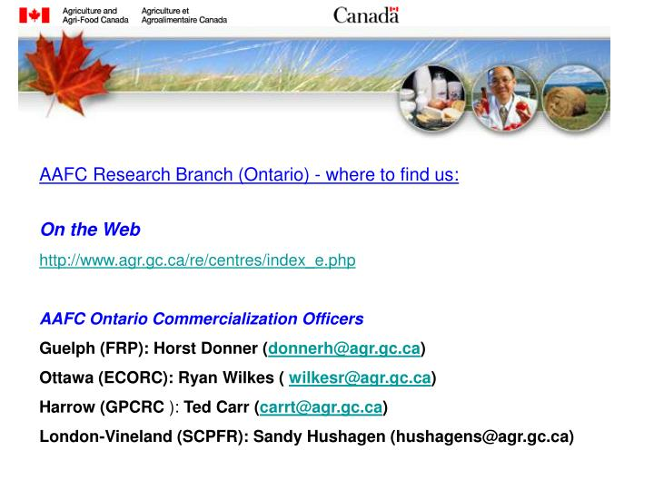 AAFC Research Branch (Ontario) - where to find us: