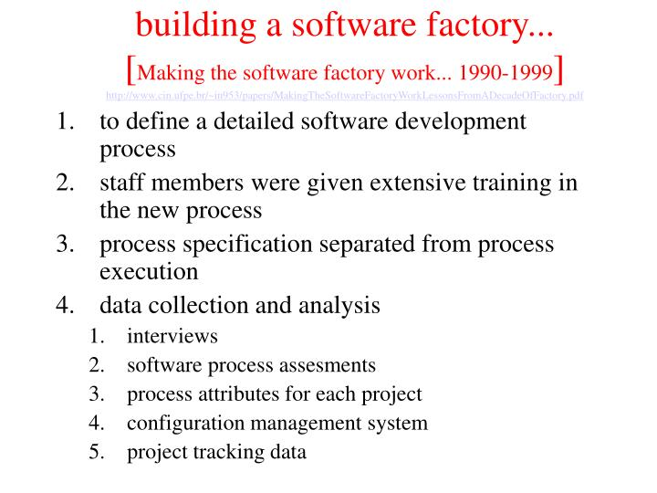 building a software factory...