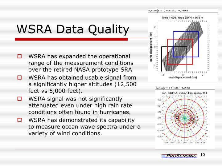 WSRA Data Quality