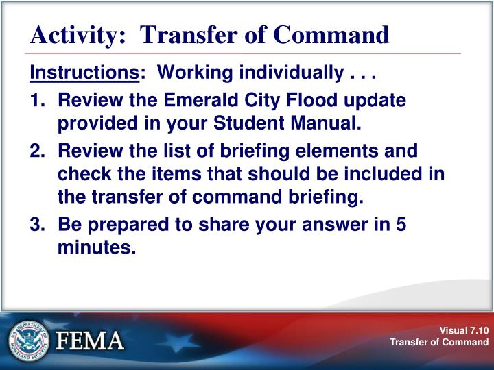 Activity:  Transfer of Command