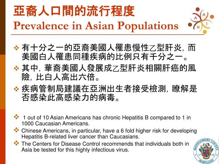亞裔人口間的流行程度