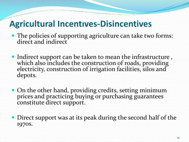 Agricultural Incentıves-Disincentives