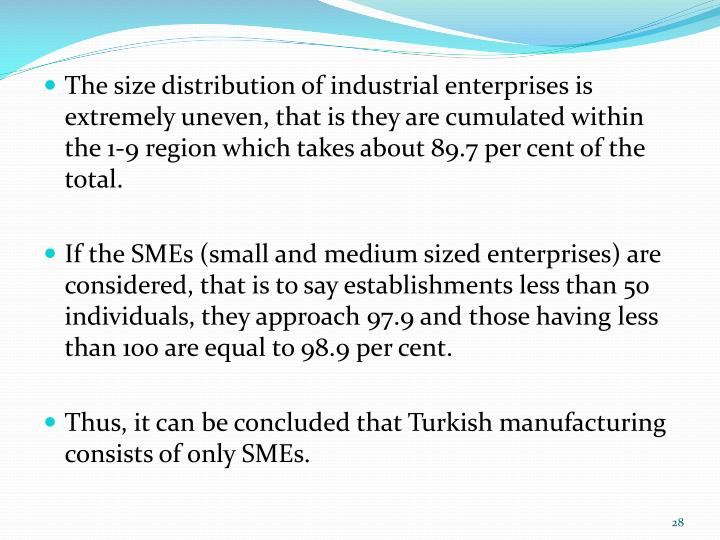 The size distribution of industrial enterprises is extremely uneven, that is they are cumulated within the 1-9 region which takes about 89.7 per cent of the total.