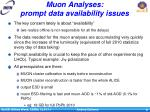 muon analyses prompt data availability issues