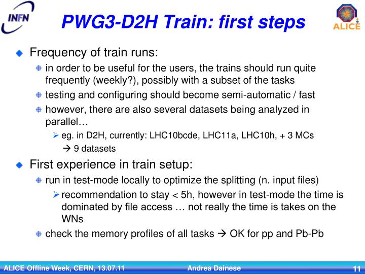 PWG3-D2H Train: first steps