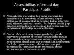 a ksesabilitas informasi dan partisipasi publik