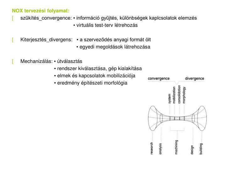 NOX tervezési folyamat: