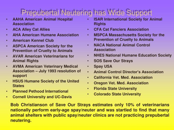 Prepubertal Neutering has Wide Support