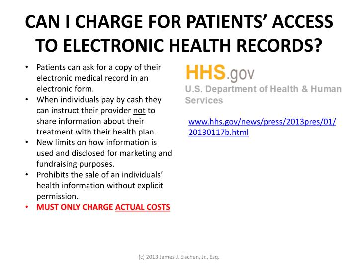 CAN I CHARGE FOR PATIENTS' ACCESS TO ELECTRONIC HEALTH RECORDS?