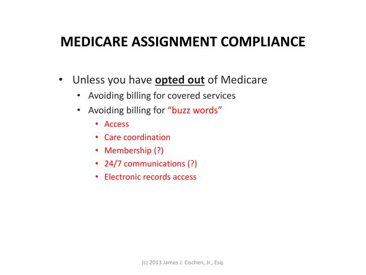 MEDICARE ASSIGNMENT COMPLIANCE