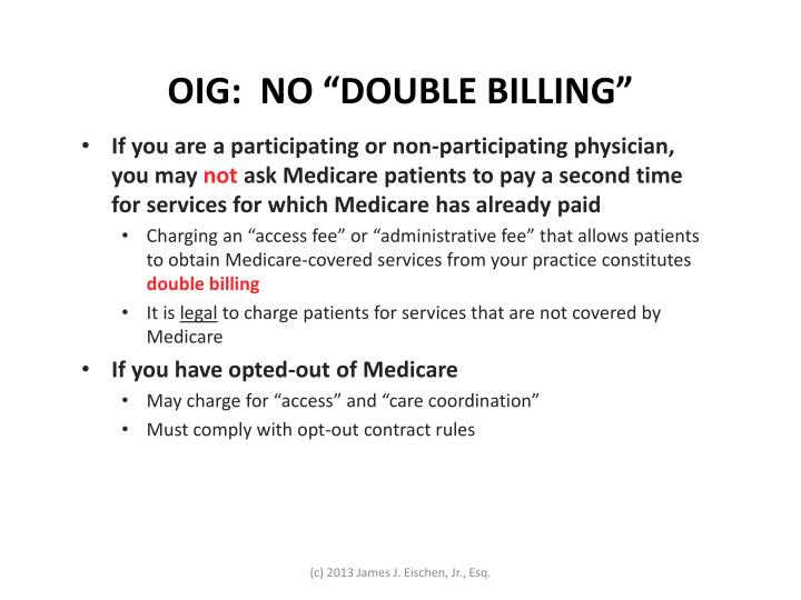 "OIG:  NO ""DOUBLE BILLING"""