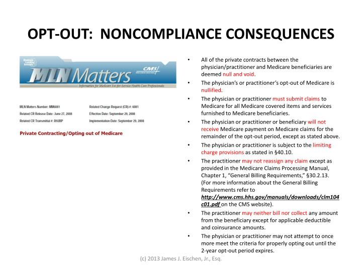 OPT-OUT:  NONCOMPLIANCE CONSEQUENCES