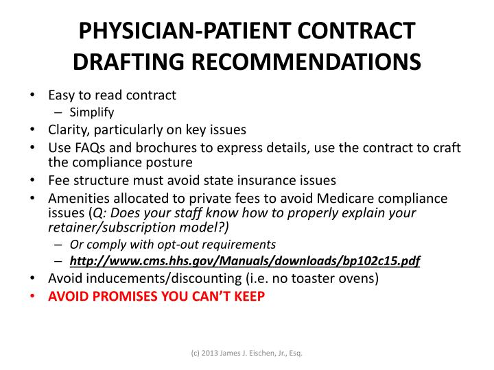 PHYSICIAN-PATIENT CONTRACT DRAFTING RECOMMENDATIONS
