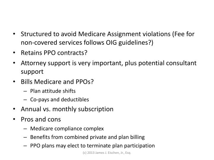 Structured to avoid Medicare Assignment violations (Fee for non-covered services follows OIG guidelines?)