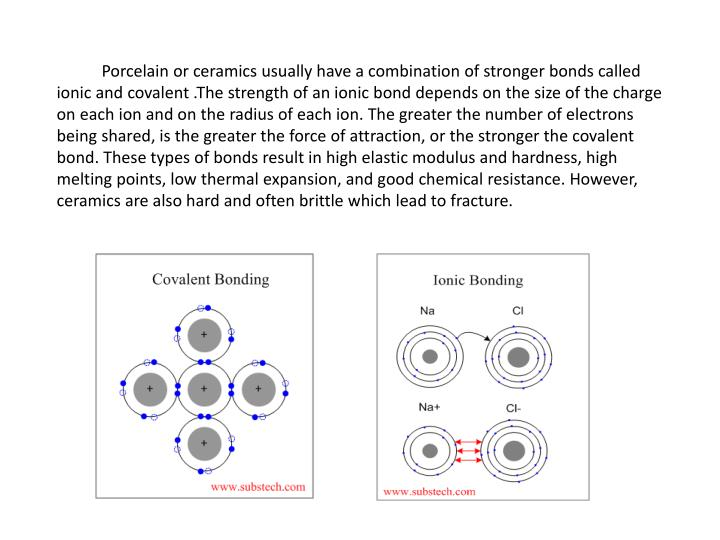 Porcelain or ceramics usually have a combination of stronger bonds called ionic and covalent .The strength of an ionic bond depends on the size of the charge on each ion and on the radius of each ion. The greater the number of electrons being shared, is the greater the force of attraction, or the stronger the covalent bond. These types of bonds result in high elastic modulus and hardness, high melting points, low thermal expansion, and good chemical resistance. However, ceramics are also hard and often brittle which lead to fracture.