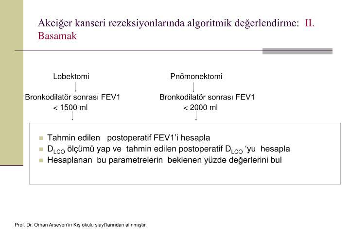 Akciğer kanseri rezeksiyonlarında algoritmik değerlendirme: