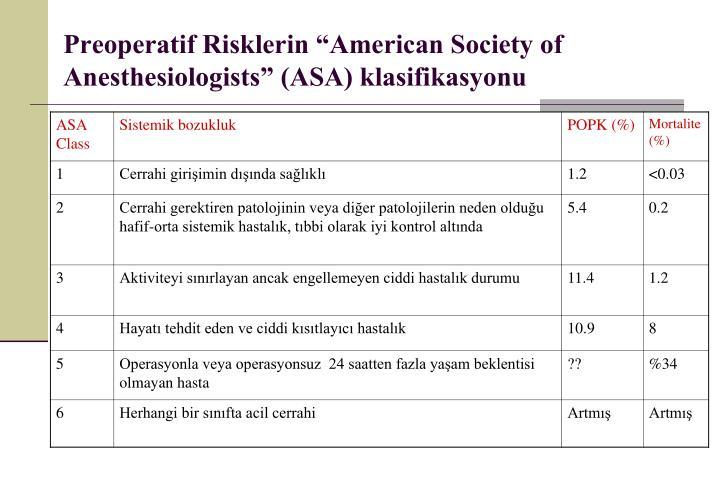 "Preoperatif Risklerin ""American Society of Anesthesiologists"" (ASA) klasifikasyonu"