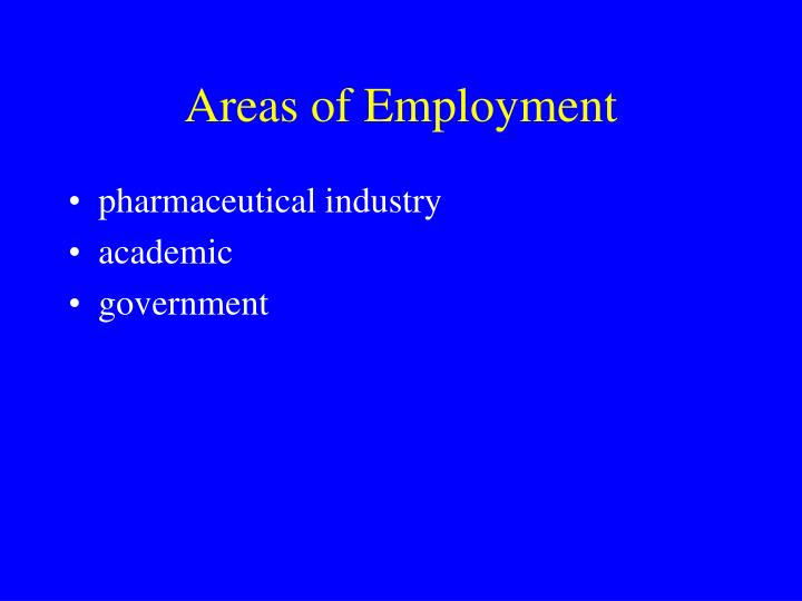 Areas of Employment