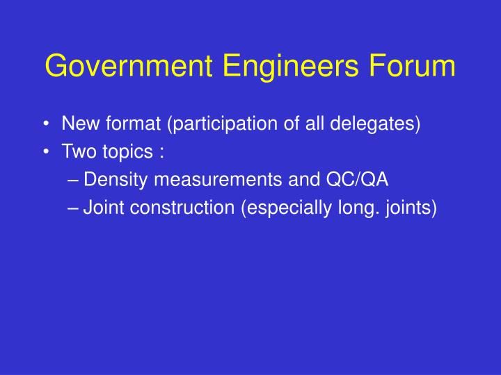 Government Engineers Forum