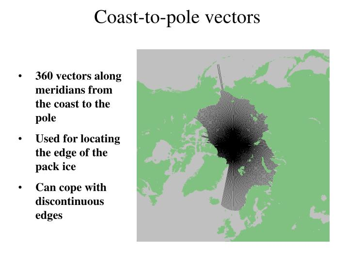 Coast-to-pole vectors