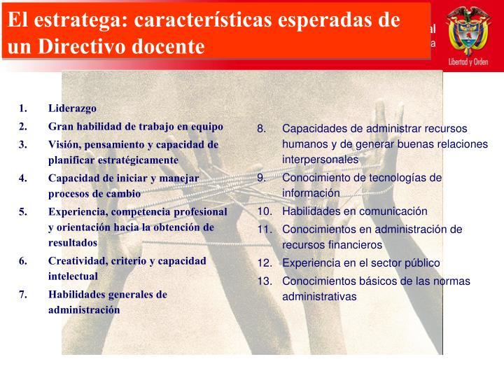El estratega: características esperadas de un Directivo docente