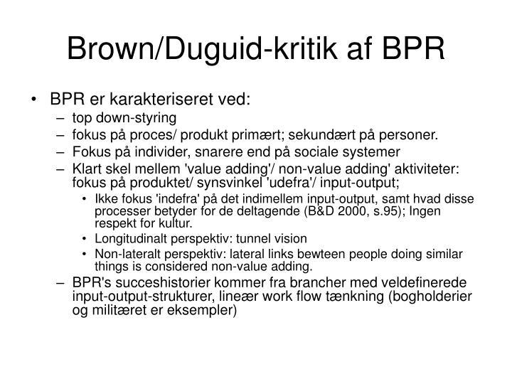 Brown/Duguid-kritik af BPR