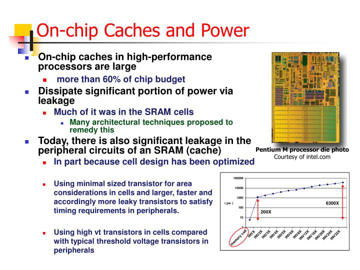 On chip caches and power