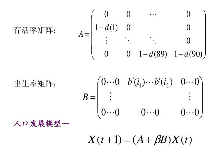 存活率矩阵: