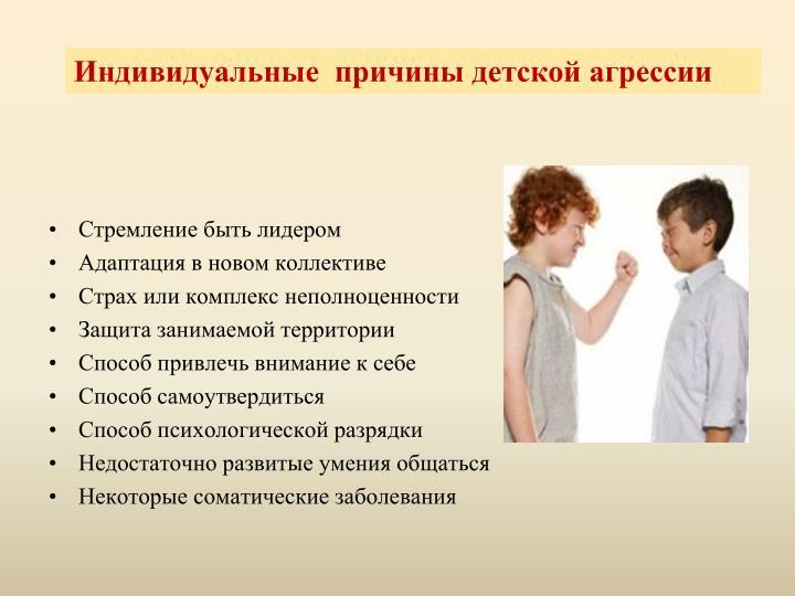 Индивидуальные  причины детской агрессии