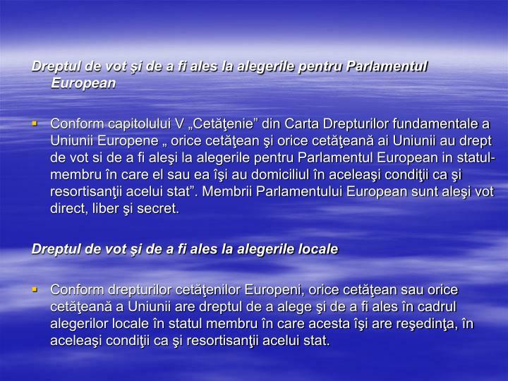 Dreptul de vot şi de a fi ales la alegerile pentru Parlamentul European