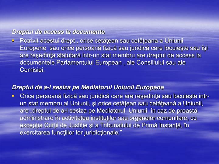 Dreptul de access la documente
