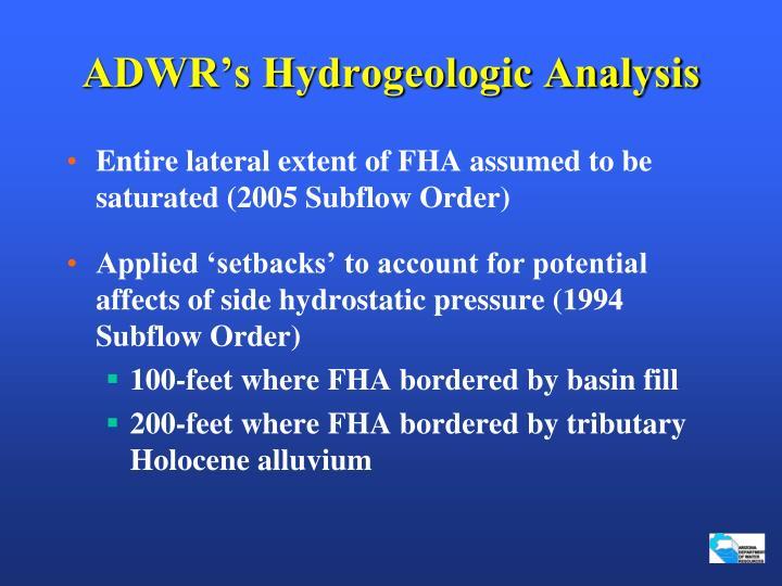 ADWR's Hydrogeologic Analysis