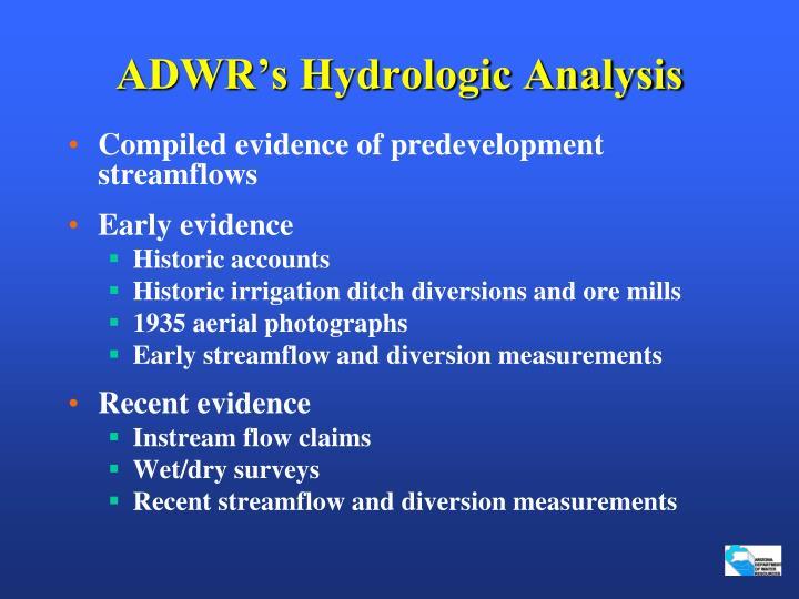 ADWR's Hydrologic Analysis