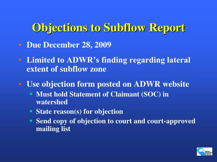 Objections to Subflow Report