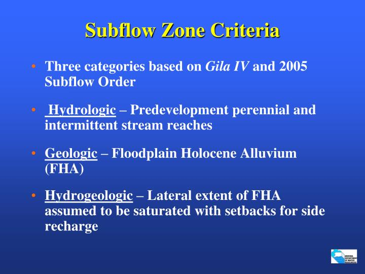 Subflow Zone Criteria