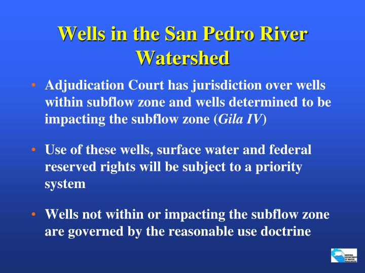 Wells in the San Pedro River Watershed